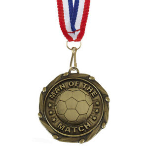 Combo Man of the Match Medal with Red, White & Blue Ribbon FREE ENGRAVING & P&P