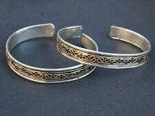 Two Tibetan Copper Brass Filigree Threads Multi-Weaving Amulet Cuff Bracelets