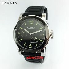 Parnis 44mm black dial steel sapphire power reserve automatic date watch 1397