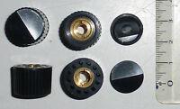 4 boutons ronds noirs en laiton plastique axe 6 mm NOS à serrage concentrique