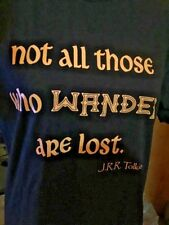 Lord Of Rings Not All Who Wander Are Lost Tolkien Black Adult Men Medium T-shirt