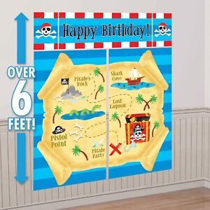 PIRATE TREASURE BIRTHDAY PARTY SUPPLIES GIANT SCENE SETTER WALL DECORATING KIT
