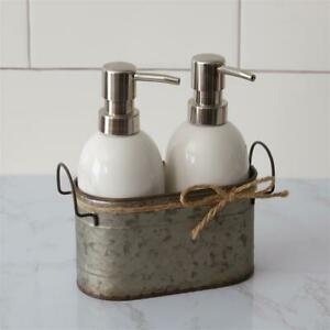 Duo Soap Dispensers with Galvanized Caddy