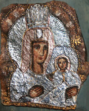 New listing Orthodox Icon Tikhvinskaya Virgin Hand Painted Tempera/Collage on Stone