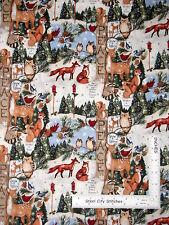 Christmas Fabric Owl Deer Fox Bird Holiday Tree Woodland Thoughts CP58639 ~ Yard