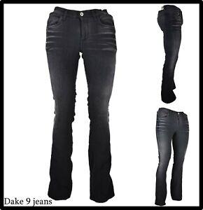 jeans da donna elasticizzati a zampa vita bassa bootcut vintage campana w27 neri