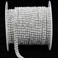 1 Yard 2 Rows Crystal Rhinestone Ribbon for Wedding Clothes Trim Sewing Craft