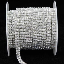 1 Yard 2 Rows Crystal Rhinestone Ribbon for Wedding Clothes Trim Sewing Craft