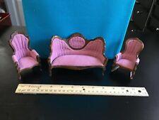 dollhouse miniature - 1:12 vintage living room set - pink