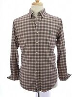Ralph Lauren Mens Classic Fit Button Down Shirt Tartan Plaid Brown Sz Medium