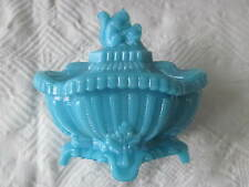 Vtg Blue Opaline Glass French Portieux Vallerysthal Squirrel Covered Dish Jar