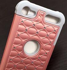 For iPod Touch 5th 6th Gen -HARD&SOFT HYBRID DIAMOND BLING CASE ROSE GOLD / GRAY