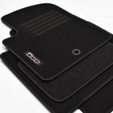Logo Velours Fußmatten für Fiat 500 + 500 Cabrio ab Bj.2007 - 2013 schwarz