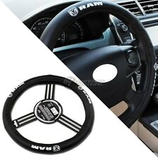 Pilot Automotive Dodge RAM Logo Black Leather Genuine Steering Wheel Cover