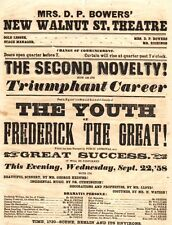 *WALNUT STREET THEATRE 1858 BROADSIDE THE YOUTH OF FREDERICK THE GREAT*