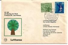 Enveloppe 1er vol Lufthansa Francfort-Las Palmas 1964.