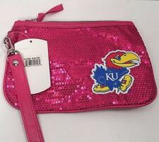 NEW NCAA College KANSAS JAYHAWKS Womens PINK Clutch Sparkle Bling Bag Purse