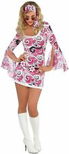Adult 60s Hippy Chick Costume Ivana Gogo Fancy Dress Ladies Hippie Outfit 8-16