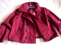 Mix It Women's Double-Breasted Jacket Burgundy Maroon Red Size L 100% cotton