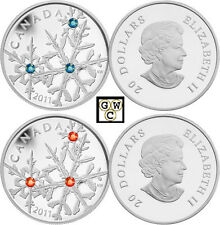 2011 Montana & Hyacinth Small Crystal Snowflake Prf $20 Silver Coins (12878 NT)