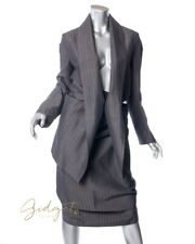 Vivienne Westwood Anglomania Size 44 / 10 Gray Pinstripe Linen Skirt Suit