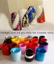 18 pcs Multi-Color Foils and Black Gel Paint for Crackle Nail Art like Emi
