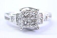 Fine Princess & Round Cut Diamond Invisible Setting White Gold Ring 1.00Ct 14KT