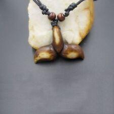 Imitation Yak Bone Whale Mermaid Tail Pattern Pendants Necklace Amulet--