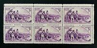 US Stamps, Scott #904 Kentucky Statehood 1942 3c Block of 6 XF M/NH
