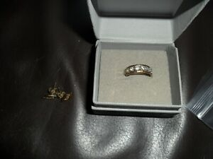 VINTAGE ANTIQUE ? 375 GOLD 9CT 9 CT HEART STONE ETERNITY STYLE RING + EARRINGS