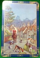 Playing Cards 1 Swap Card Old Vintage Fox Hunting Horse Dog CASTLE COMBE WILTS 1