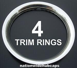 """4 NEW CHEVY 14"""" STAINLESS STEEL TRIM RINGS BEAUTY BANDS EDGE GLAMOUR WHEELS RIMS"""