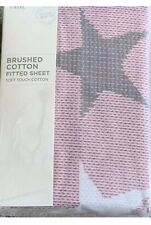 NEXT Baby Pink Grey Star Brushed 100% Cotton Single  Fitted Sheet New