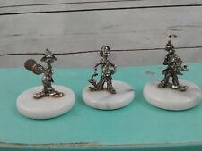 Group of 3 Pewter Hobo Clown Figures on Marble Bases Paper Weights Musical
