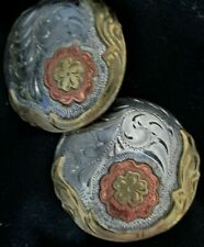 New listing 2 Big Tri Color Silver Bridle Loop Conchos Gorgeous Copper Gold and Silver Trims