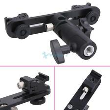 Flash Bracket Double 2 HotShoes Umbrella Holder Swivel Light Stand fr Speed