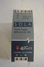 Used SOLA power supply SDN 2.5-24-100  24VDC 2.5 amp 115/230 VAC 1.3 amp