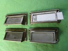 4 poignées coquille porte étiquette fer chromé ancienne tiroirs meuble métier