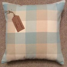"""New quality 16""""x16"""" cushion cover teal beige checked woven fabric zip fastening"""