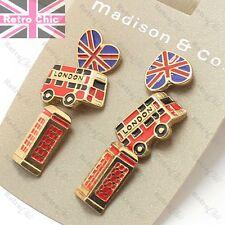 3prs GB Tachuelas London Bus, Caja de teléfono, Union Jack Rojo/Oro Pendientes de Moda Retro