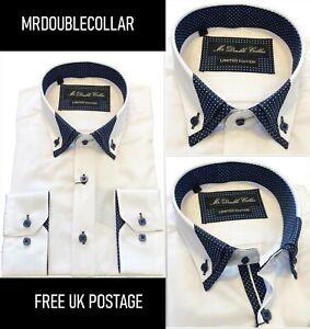 Brand New Men's Perfect White Polka Dot Double Collar Long-sleeved Shirt