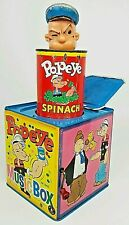 Vintage Popeye In The Music Box Jack In The Box Tin Litho Hand Wind Toy Spinach