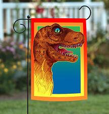 New Toland - Rockin' Dinosaur - Colorful Tyrannosaurus Pop Art T-Rex Garden Flag