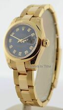 Rolex Ladies Datejust 179168 18K Yellow Gold Watch Diamond Dial Box/Papers NOS