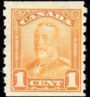 Mint H Canada F+ Scott #160 COIL 1c 1929 KGV Scroll Issue Stamp