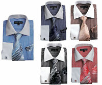 Men's Dress Shirt with Tie + Handkerchief, French Cuff Links Striped  FL631