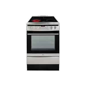 Amica 60cm Single Fan Oven Electric Cooker with Ceramic Hob - Stainless Steel