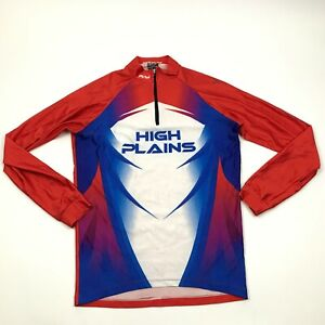 VINTAGE High Plains Cycling Jersey Size Size Small Red Shirt Long Sleeve 1/4 Zip