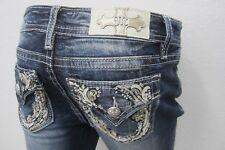 NWT MISS ME Women's Denim M3117P Embellished Cuffed Capri Jeans Size W27 x L23