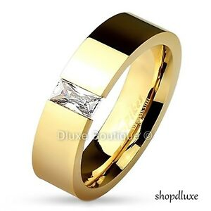 MEN'S PRINCESS CUT CZ 14K GP STAINLESS STEEL WEDDING RING BAND SIZE 7-13